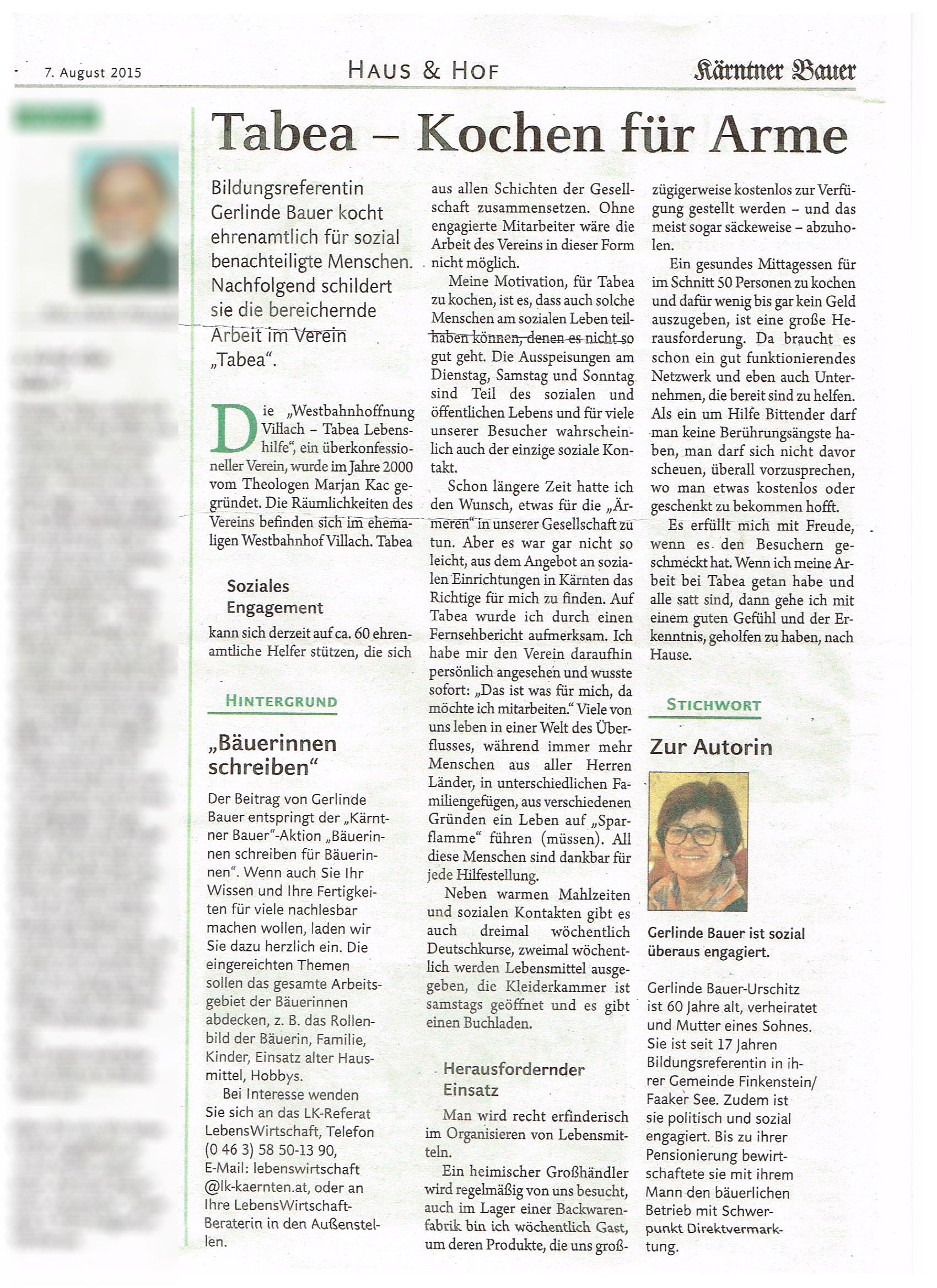 Westbahnhoffnung Villach - Tabea Lebenshilfe - Zeitungsberichte