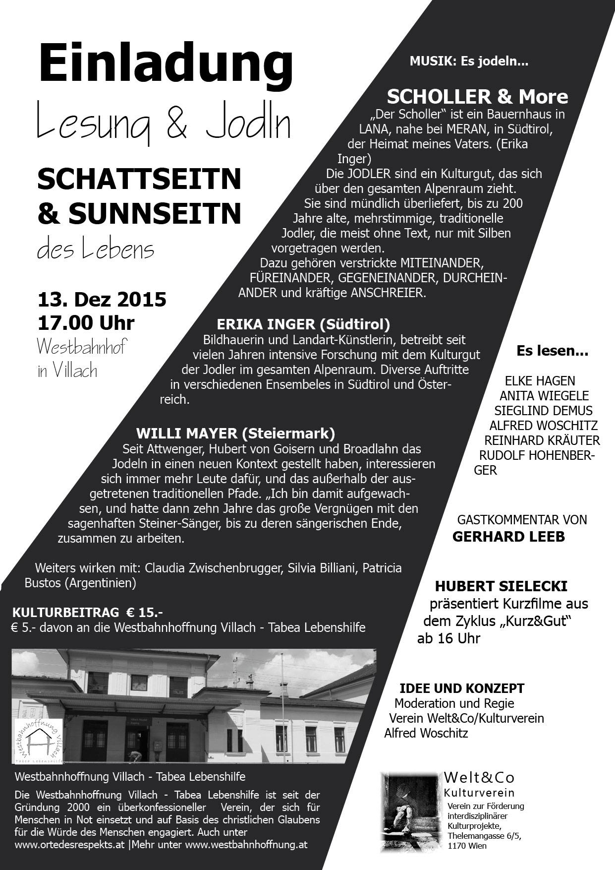 Einladung zur Lesung & Jodln, am 13. Dezember 2015, 16 Uhr, Westbahnhof Villach